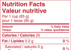 Billingual Nutrition Facts Table